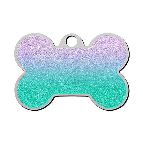 Custom Modern Mermaid Lavender Glitter Pet ID Tag Bone Shape Dog Tags & Cat Tags Identity Tags