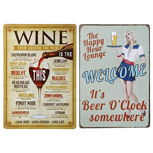 HPiano 2pcs Cartel de Chapa Placa Metal,Vintage Placa metálica para la Pared,Vintage Carteles Metal estaño Pared señal Placa Cartel para Cafetería Bar Cerveza decoración