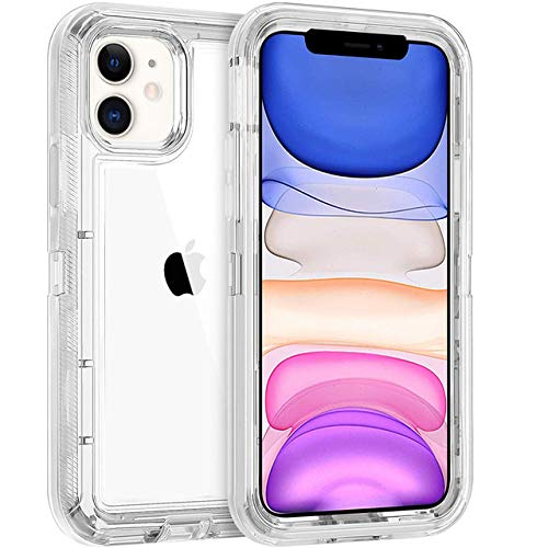 WQDWF For iPhone 11 Pro MAX XR XS X 6S 7 8 Plus Half Clear Red Purple Gray Transparent Shockproof Armor Glossy Plain Case Phone Cover,White,For iPhone 7