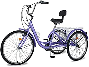 Adult Tricycles, 3 Wheel Bike Adult, 7 Speed Trikes, 24/26 inch Wheels Adult Trikes with Basket for Seniors, Women, Men (Purple, 24