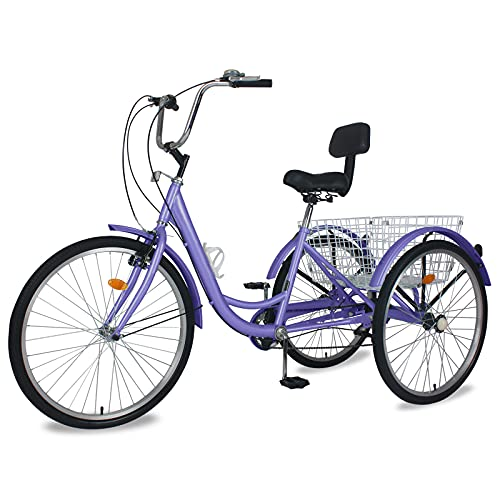 Slsy Adult Tricycles 7 Speed, Adult Trikes 20/24 / 26 inch 3 Wheel Bikes, Three-Wheeled Bicycles...