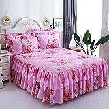CYYyang Protector de colchón, algodón, poliéster, Hoja de Cama de Encaje de Falda de Cama engrosada-13_180 * 200cm