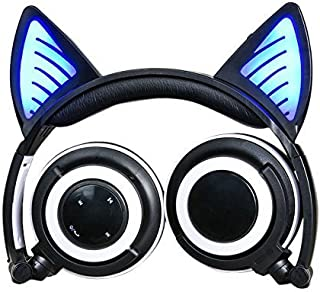 Headphones with Bluetooth &Microphone Wireless/Wired Over Ear Cat Ear Headphones Flashing Glowing Headphones Foldable with LED Flash light for iPhone 7/6S/iPad,Android,Mp3,Mp4 player,Gifts for kids.
