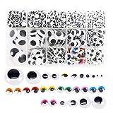 Nsiwem 1120 piezas Ojos Manualidades Adhesivos Ojos Moviles Plástico Autoadhesivo Ojos Wiggle Eyes...