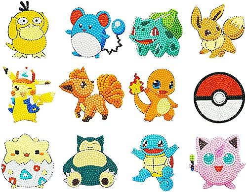 12Pcs Diamond Painting Stickers Kits for Kids, Paint by Numbers Diamonds for Adult Beginners,DIY 5D Pokemon Diamond Art Mosaic Stickers, (12PCS)