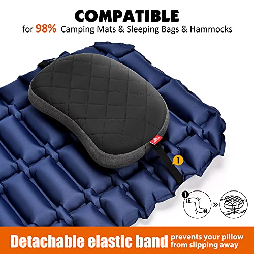 Hikenture Inflatable Camping Pillow, Thicken Backpacking Pillow with Removable Case, Ultralight Portable Blow Up Camp Pillow Hiking Pillow, Ergonomic Inflatable Travel Pillow for Camping, Outdoor
