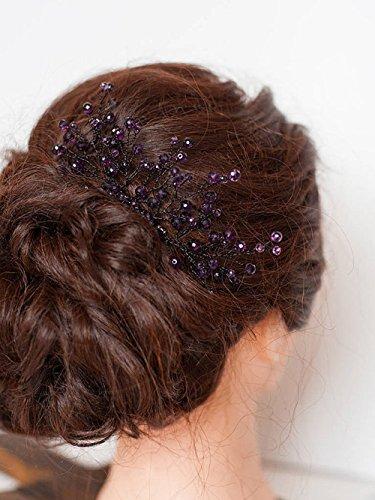 FXmimior Brautschmuck Haarschmuck Haarkamm violett Hochzeit Lila Brautjungfer Kopfbedeckung Zweig Kamm Brautjungfer Geschenk Amethyst Perlen Haarteil Hochzeit...