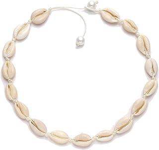 HSWE Shell Choker Necklace for Women Seashell Necklace Statement Adjustable Puka Shell Necklace Bracelets Set Hawaiian Jewelry