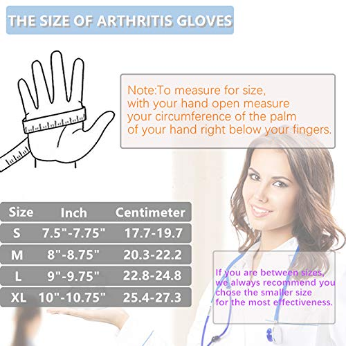 Compression Gloves, Arthritis Gloves for Women & Men, Carpal Tunnel Gloves, Relieve Arthritis Pain, Fingerless Design, Breathable Moisture Wicking Fabric Comfortable Fit (l)
