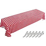 Gingham Picnic Tablecloth, Red Checkered Disposable Table Covers, 6 Pack Plastic Table Cloths for Cowboy Western Italian Camping Barn Yard Birthday Farm Party
