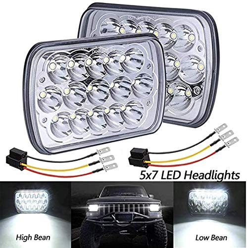 BAOLICY 5x7 7x6 In LED Headlights H6054 Headlight Dot Approved High/Low Sealed Beam H4 9003 Plug 2PCS Rectangular Headlamp for Je ep Cherokee Off-Road Truck Chevy Ford with H6014 H6052 H5054
