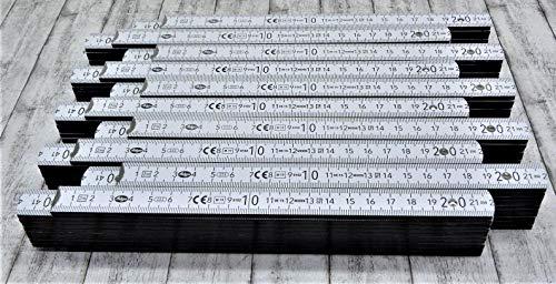 10 Stk. Adga 250 plus Meterstab Holz weiß 2 Meter Vollskala Winkelübersicht 90° Rastung Hochseiten geschwärzt