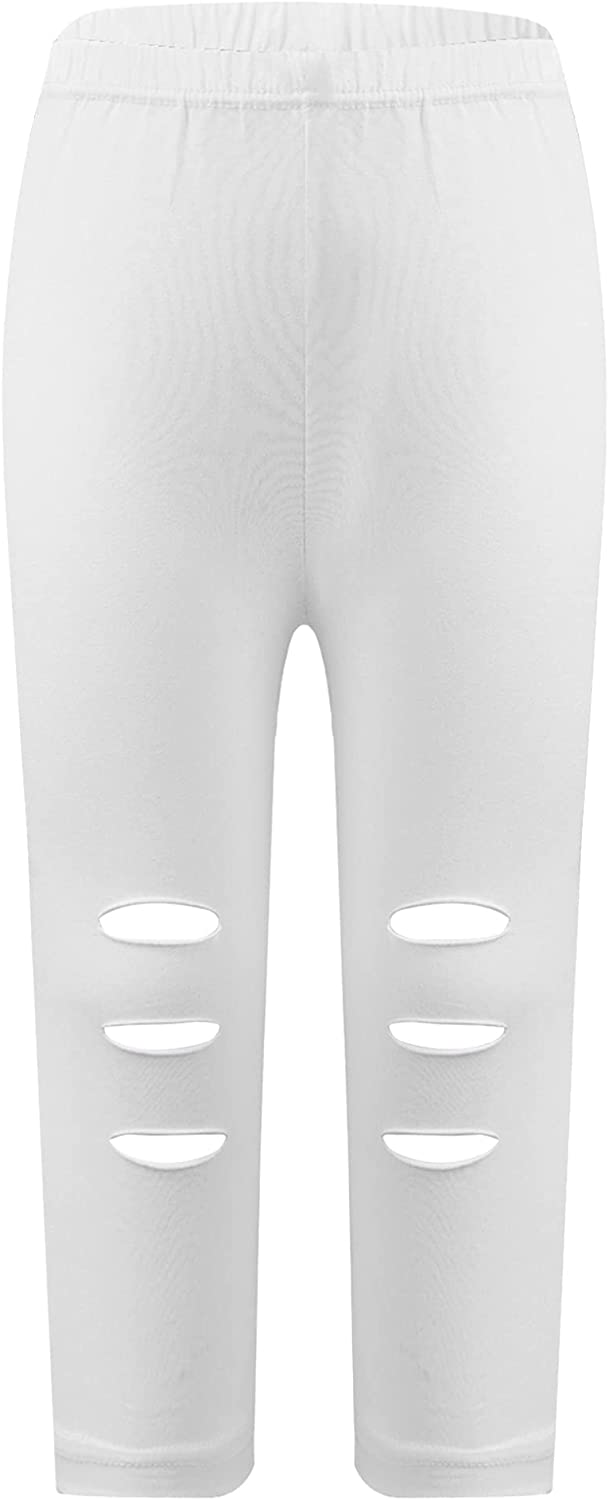 Doomiva Kids Girls Summer Fashion Ripped Plain Yoga Trousers Stretchy Cropped Athletic Leggings Active Sportswear
