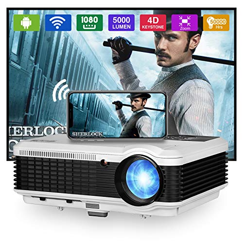 Smart Home Projector with Bluetooth Wifi,4800 Lumen LED Movie Proyector Compatible with HDMI VGA USB AV DVD Player Fire TV...