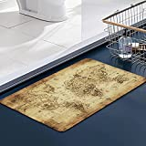 FengYe Memoria Piso Baño Alfombra Absorber Alfombra de,Mapa Antiguo del mundoAlfombra Antideslizante Alfombra Espuma (60 * 100cm)