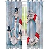 Cortina de ventana con diseño de boya y boya salvavidas de 52 x 84 de ancho para oscurecer la habitación, para sala de estar