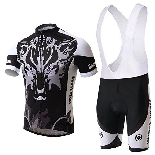 Hebike Herren Fahrradtrikot Ghost Wolf 3D Gepolsterte Shorts Set Outfit / Radtrikot Trägerhose Set XL Jersey + Lätzchen