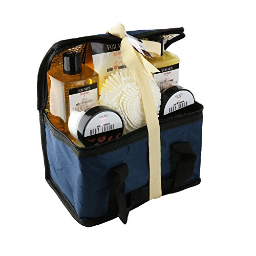 Spa Life All Natural Bath and Body Luxury Spa Gift Set Basket (Mens Sandalwood)