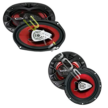 Boss CH6530 Chaos Exxtreme 6.5  300W 3-Way Car Coaxial Audio Speakers and CH6920 Chaos 6x9 2-Way 350W Car Coaxial Audio Speakers Stereo Red