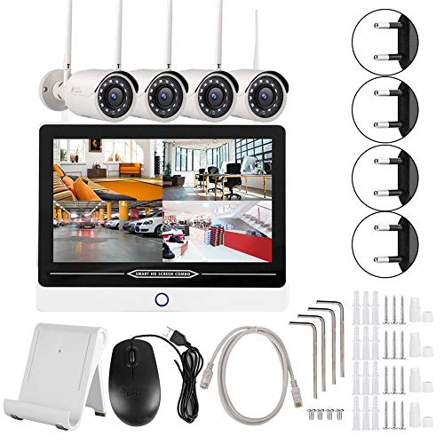 Bewakingscamera, 12,5-inch LCD-monitor 4CH WiFi NVR 1080P Wireless Security Camera System voor Onvif EU-stekker.