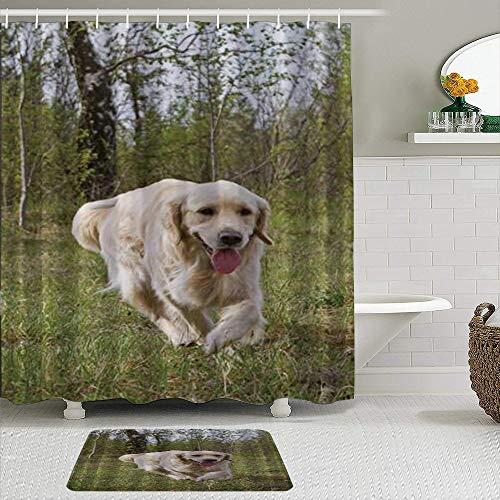 KISSENSU Cortinas con Ganchos,Perro Perdiguero Corriendo en el Bosque Animal canino,Cortina de Ducha Alfombra de baño Bañera Accesorios Baño Moderno