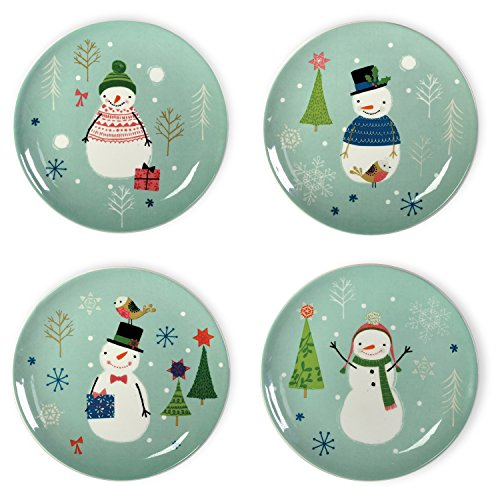 Celebrate the Home Christmas Ceramic Plates, Small, Sweaterific, 4-Piece Set