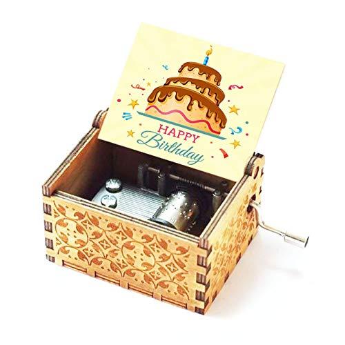 Evelure Carillon in Legno Happy Birthday, Antico, Intagliato a Mano, in Legno, Decorazione...