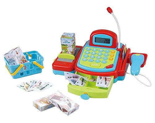 PlayGo 3215 - Kas met handbediende transportband, elektronische rekenmachine, creditcardafrekening en afsluitbare lade met geld, inclusief boodschappenmand met accessoires