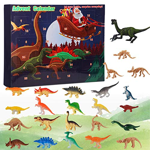 COCEQUC Advent Calendar 2020 Kids 24 Dinosaur Countdown to Christmas Holiday Set Figurine Xmas Décor for Boys Girls Toddler Teens