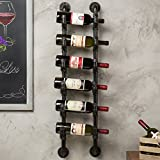 MyGift 6-Bottle Industrial Black Metal Pipe Wall-Mounted Wine Rack
