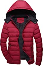 Orfilaly Men Winter Warm Jacket Down Hooded Outwear Padded Coat with Hat Removable for Winter Travelling,Walking,Daily Use