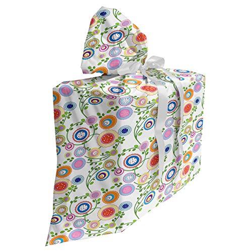 ABAKUHAUS Floreale Baby Shower Sacchetti Regalo, Filiali Flora curvi, Sacchetto Bomboniera Riutilizzabile in Tessuto con 3 Nastri, 70 x 80 cm, Multicolore