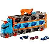 Hot Wheels Super Transporteur Extensible, camion pour ranger jusqu'à 25 véhicules avec piste de course, 3voitures incluses, jouet pour enfant, GVG37