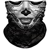 Skull Face Mask Dust Wind Sun Protection Seamless 3D Tube Mask Bandana for Men Women Durable Thin Breathable Skeleton Mask Motorcycle Riding Biker Fishing Cycling Sports Festival (Girl black)
