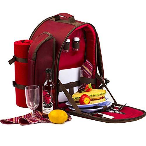 Mettime Doble roja–Mochila de Picnic, Cesta con refrigeración Bolsas, Incluyendo Platos y Wolldecken (14Unidades)