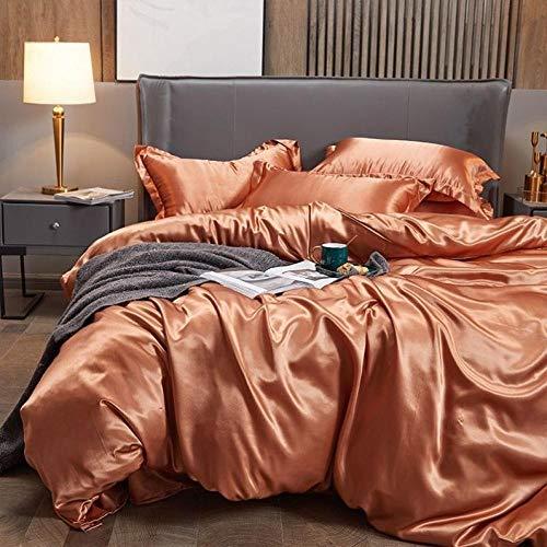 Bedding-LZ Funda nórdica y 2 Fundas de Almohada,Verano Bordado Anti-Seda Rosa de Gama Alta Multicolor Lindo Sedoso Desnudo Dormir Seda Conjunto de Cuatro Piezas-J_Cama de 1,8 m (4 Piezas)