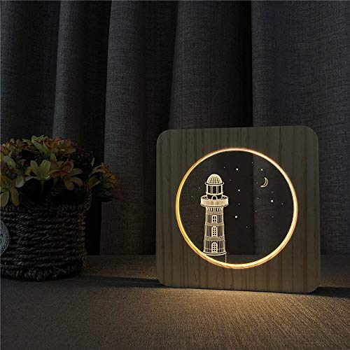 Solo 1 pieza Torre de Faro 3D LED Acrílico Luz de noche de madera Lámpara de mesa Control de interruptor Lámpara de talla Decoración de habitación para niños Regalo
