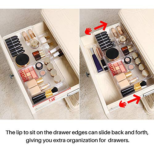 """Oubonun Expandable Drawer Organizer 11.1"""" to 19.2"""" Width, Shallow Cosmetic Organizer 1.3"""" Height, 4 Packs, Clear Plastic Storage Trays with 7 Compartments for Dressing Table, Bathroom, and Office Desk"""