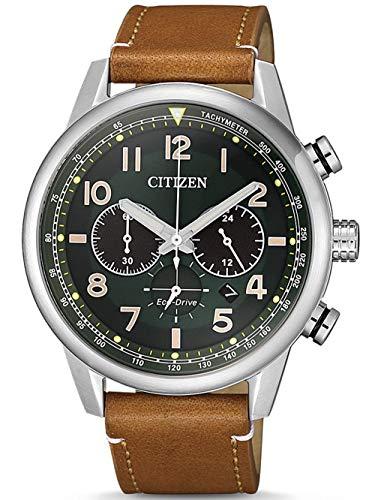 CITIZEN Herren Analog Eco-Drive Uhr mit Leder Armband CA4420-21X