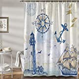 Bonhause Nautical Sailboat Shower Curtain with 12 Hooks Lighthouse Compass Anchor Decorative Bath Curtain 72 x 72 Inch Polyester Fabric Machine Washable Waterproof Bathroom Curtain