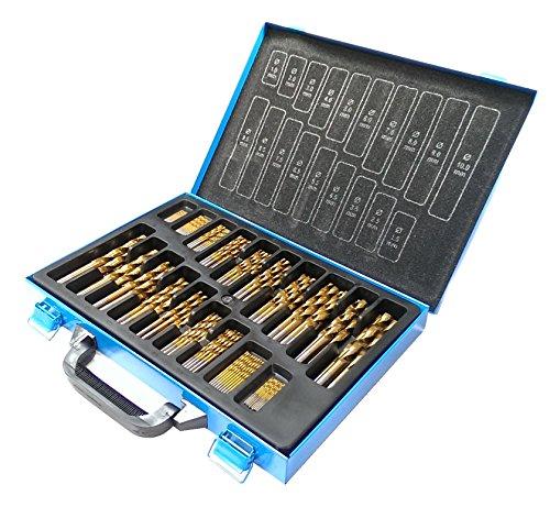 HSS Spiralbohrersatz Metallbohrer 170-tlg, DIN 338, TIN, 1-10 x 0,5 mm, im Metallkoffer