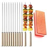 MISSFOX Grillspieße Edelstahl - 12 Stöcke Wiederverwendbar Schaschlikspieße mit Holzgriff - Kebab Spieß mit Fleischspieß Werkzeuge für Fleisch, Gemüse und Brot
