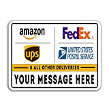 VIBE INK Deliveries & Packages Drop Off - Metal Signs - Customizable - 18'x12' Rust-Free Aluminum, Rounded Corners, Pre-drilled Holes - Commercial & Residential, Made in America!