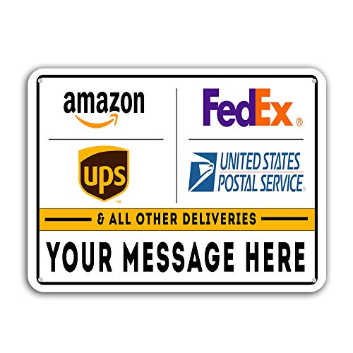 Deliveries & Packages Drop Off - Metal Signs - Customizable - 18'x12' Rust-Free Aluminum, Rounded Corners, Pre-drilled Holes - Commercial & Residential, Made in America!