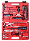 Juego de herramientas de mantenimiento y montaje, 15 piezas para tambor y freno de disco, tambor de freno, muelle de freno, alicates de freno, juego de herramientas para coche, color rojo