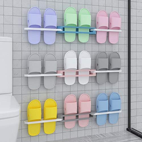 JANRON Zapatero Plegable uno a Tres zapateros, Estante Plegable para Zapatillas de baño, Estante de Drenaje de Pared de Inodoro de perforación Libre 3 Piezas