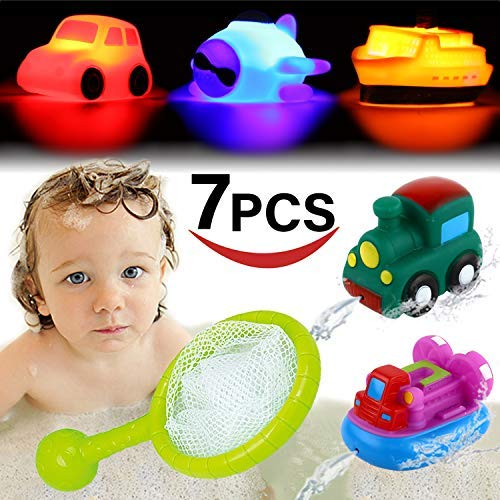 Bath Toy, Light up&Spray Water Rubber Floating Set With Fishing Net and Organizer Bag(7 Pack), Boat Catching Game For Kids Babies And Toddlers Bathtub Time, Best Gift For Boys Girl Child Pool Party
