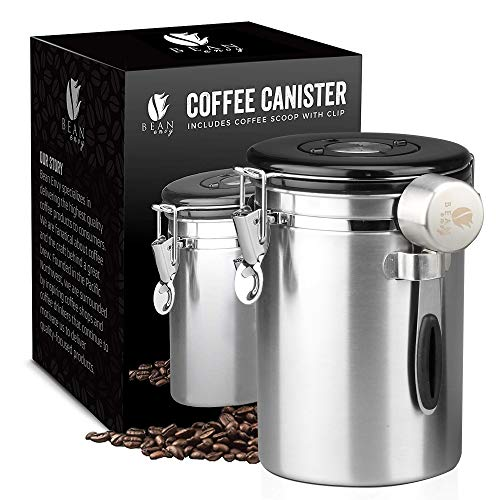 Bean Envy Airtight Coffee Canister - LARGE 22.5 oz - Includes Stainless Steel Scoop & Integrated Silicone Base - Sealed Cantilever Lid - Co2 Gas Release Wicovalve & Numerical Day/Month Tracker-Steel