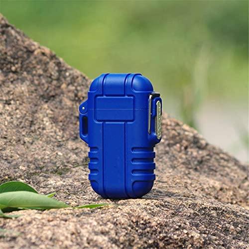 Al aire libre impermeable USB encendedor eléctrico a prueba de viento doble arco encendedores Accesorios Bbq vela encendedor F12-azul