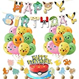 Pokemo n Birthday Party Supplies Set, Pi-kachu Party Decoration Party Favors Including Happy Birthday Banner, 20pcs Balloons, Cake Topper, Cupcake Topper for Pocket Monster Themed Birthday Party Yellow